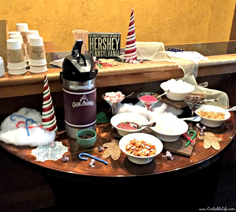 Hershey Lodge hot cocoa bar
