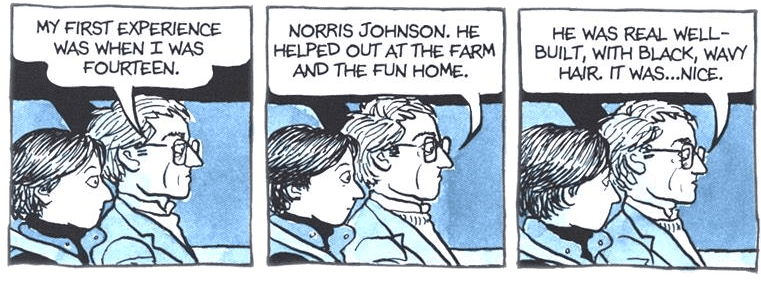 My first experience was when I was fourteen. Norris Johnson. He Helped out at the farm and the fun home. He was real well-build, with black, wavy hair. It was... nice.