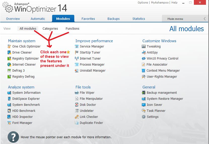 Ashampoo WinOptimizer modules