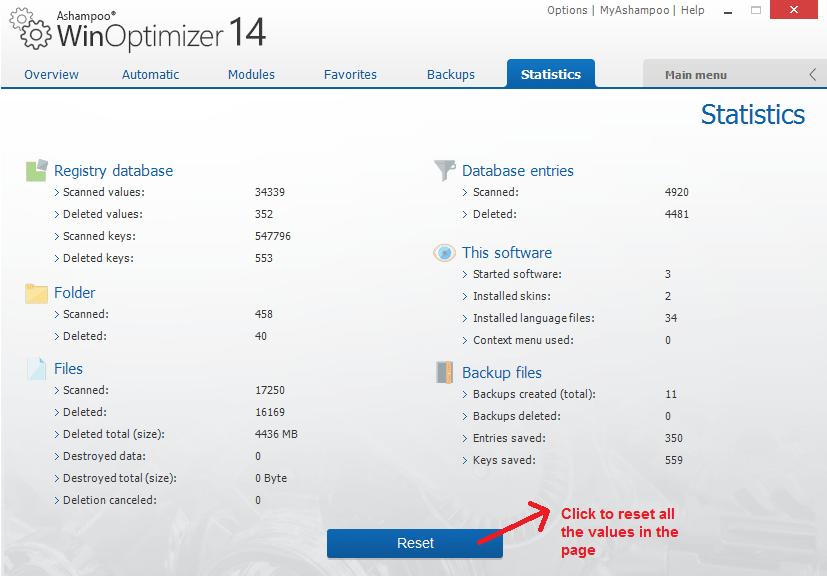 Ashampoo WinOptimizer statistics