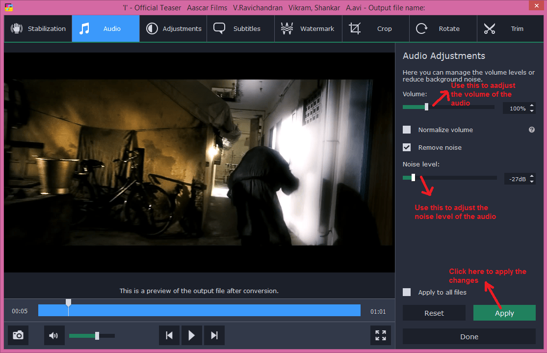 movavi video converter edit audio