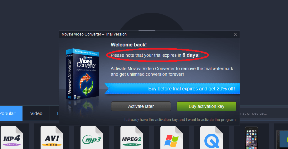 movavi video converter trial activation key
