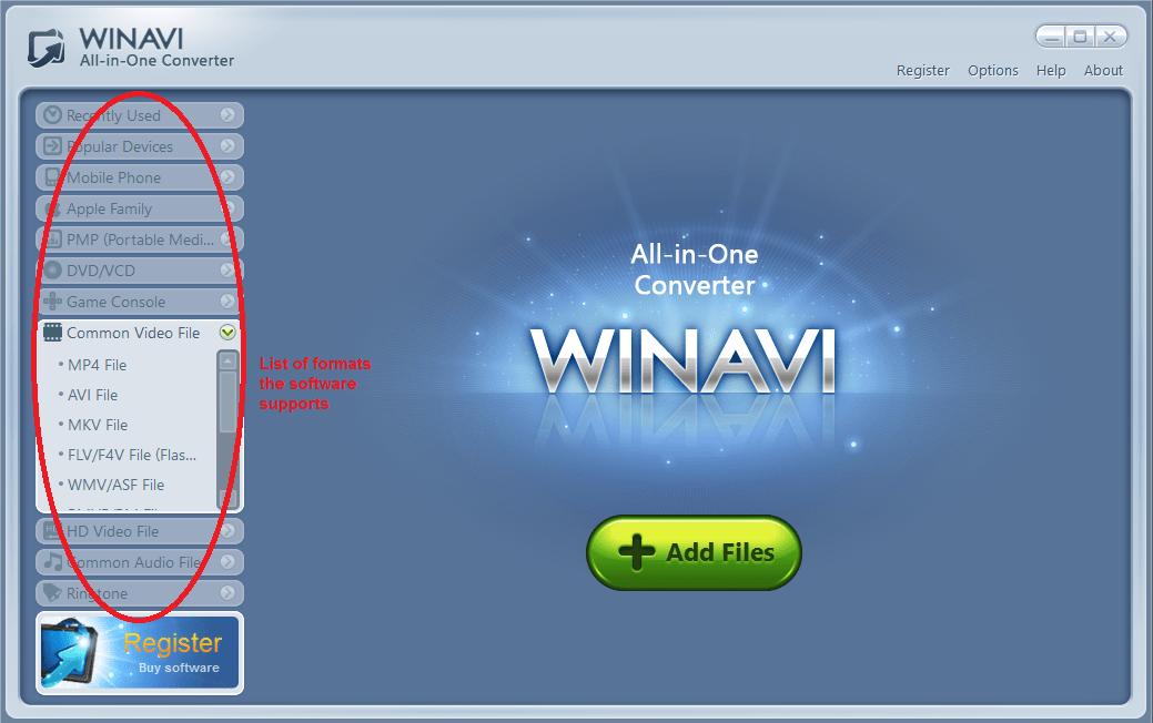 winavi all in one converter formatlist