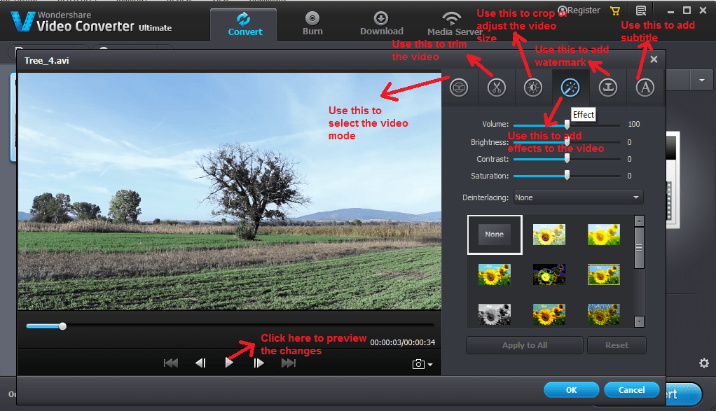 wondershare video converter convert editsettings