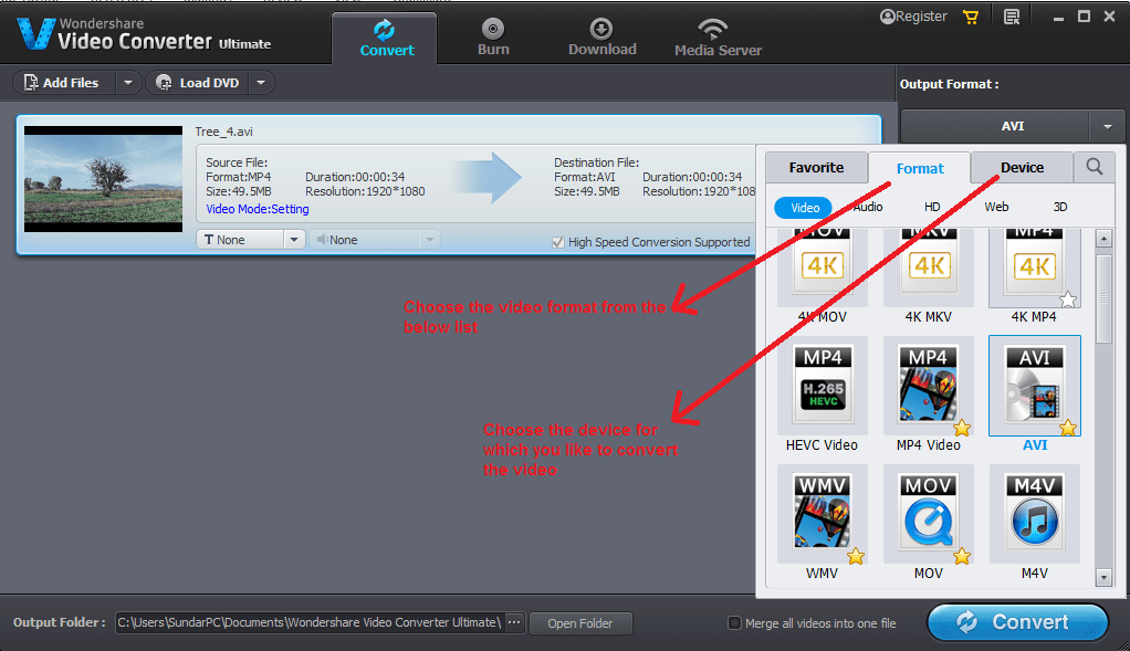 wondershare video converter convert outputformat