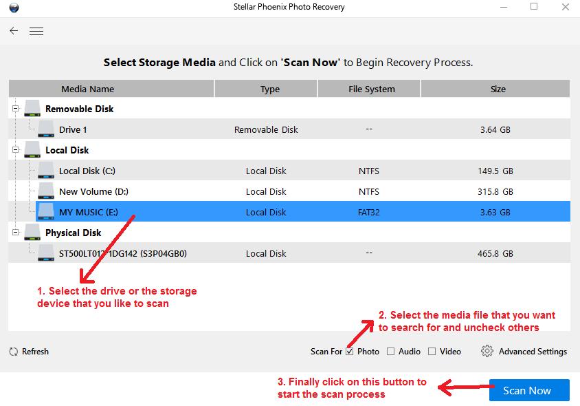 stellar photo recovery recovery startscan
