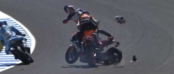 Marc Marquez crashes with Ratthapark Wilairot - Photo Credit: MotoGP.com