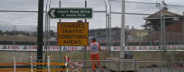 A totally unnecessary sign greets visitors to Albert Park, Melbourne as the 2011 Formula 1 season begins in Australia - Photo Credit: David Bean