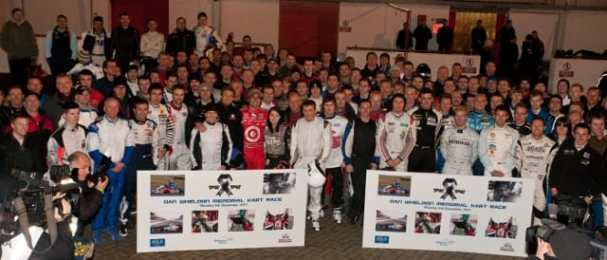 Professional and amateur drivers joined together for The Dan Wheldon Memorial Kart Race
