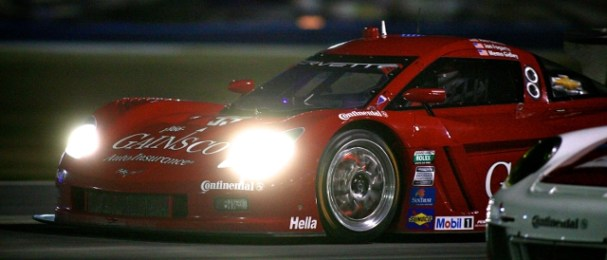 The no.99 car led with Jon Fogarty, Alex Gurney later trying to take the position again (Photo Credit: Grand-Am)