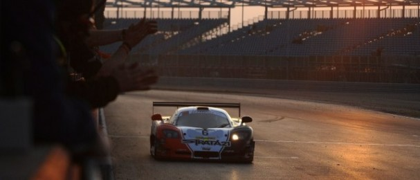 Javier Morcillo brings the victorious Mosler across the line in the Silverstone twilight (Photo Credit: Chris Gurton Photography)