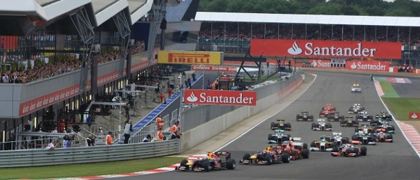 Sebastian Vettel leads the field at the start of last year's British Grand Prix - Photo Credit: Silverstone