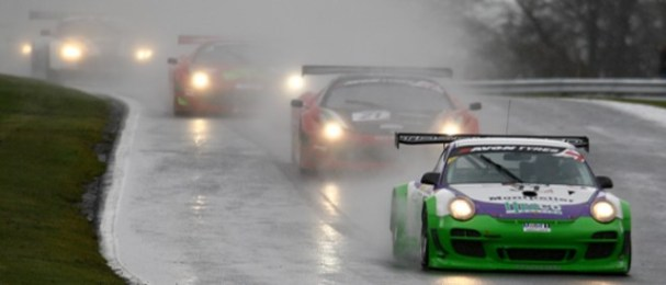 Richard Westbrook leads in the early - and wet - laps (Photo Credit: Chris Enion)