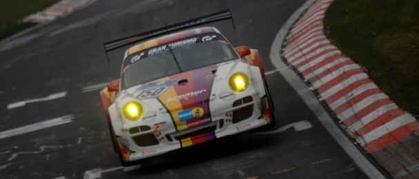 Kremer Racing's Porsche holds a lap lead in SP7 (Photo Credit: Chris Gurton Photography)