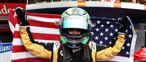 Proud to be an American: Conor Daly after his Barcelona victory (Photo Credit: Daniel Kalisz/GP3 Media Service)