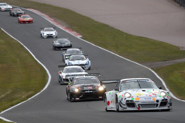 The Ashburn, Tandy Trackspeed combination lead the British GT pack into Rockingham (Photo Credit: Chris Gurton Photography)