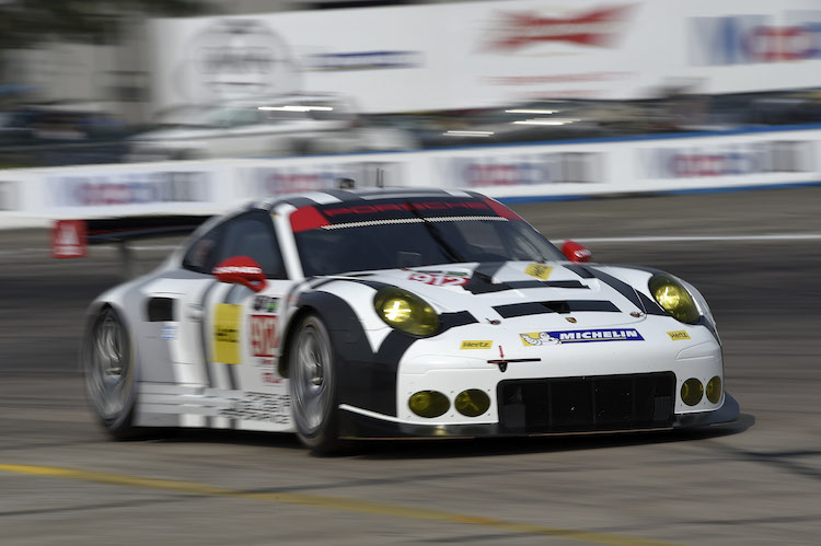 Porsche North America locked out the front row for the start of the 12 hours. Credit: IMSA
