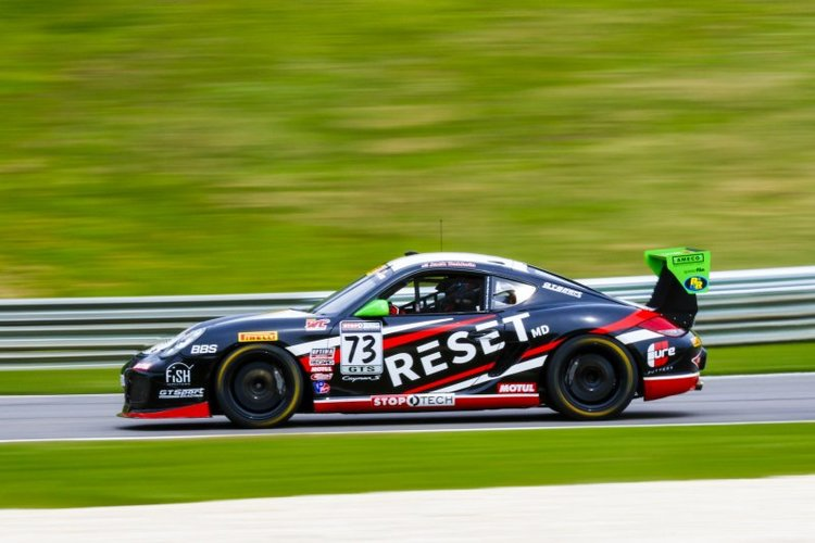 Jack Baldwin started on pole but was soon overtaken. He did stay in the top 4 for the entire race, though. (Credit: Pirelli World Challenge)