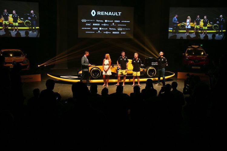 (L to R): David Croft (GBR) Sky Sports Commentator; Ellie Jean Coffey (AUS) Pro Surfer; Jolyon Palmer (GBR) Renault Sport F1 Team; Kevin Magnussen (DEN) Renault Sport F1 Team; and Cyril Abiteboul (FRA) Renault Sport F1 Managing Director at the Renault Sport F1 Team RS16 livery reveal. Renault Sport F1 Team RS16 Launch, Wednesday 16th March 2016. Albert Park, Melbourne, Australia.