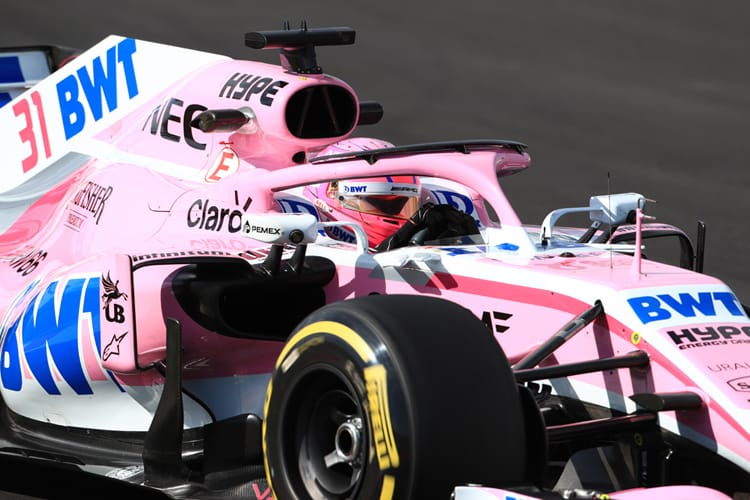 Esteban Ocon drives his pink-liveried VJM11 on the final day of pre-season testing