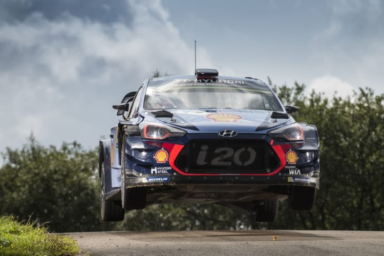 Thierry Neuville (BEL), Nicolas Gilsoul (BEL) perform during the FIA World Rally Championship 2017 in Bostalsee, Germany on August 20, 2017