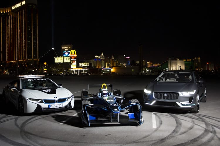 Jaguar I-Pace, BMW i8 and Formula E car- New York City