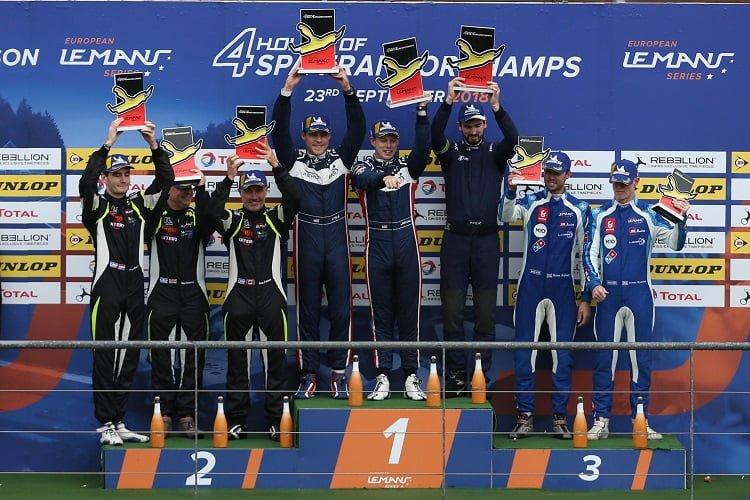 The podium finishers in LMP3 celebrate in Belgium - Spa-Francorchamps