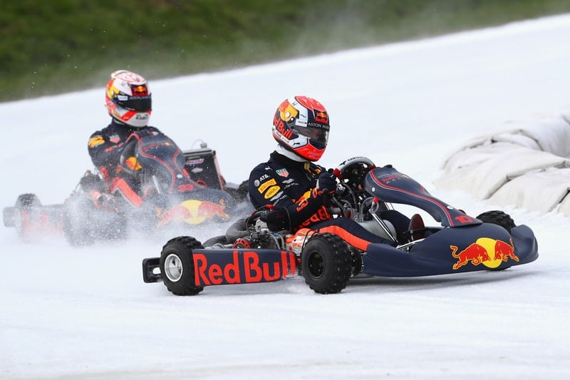 Gasly and Verstappen take to the ice for Red Bull karting demonstration