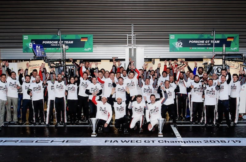 Porche celebrating their Manufacturers' World Title at Spa-Francorchamps