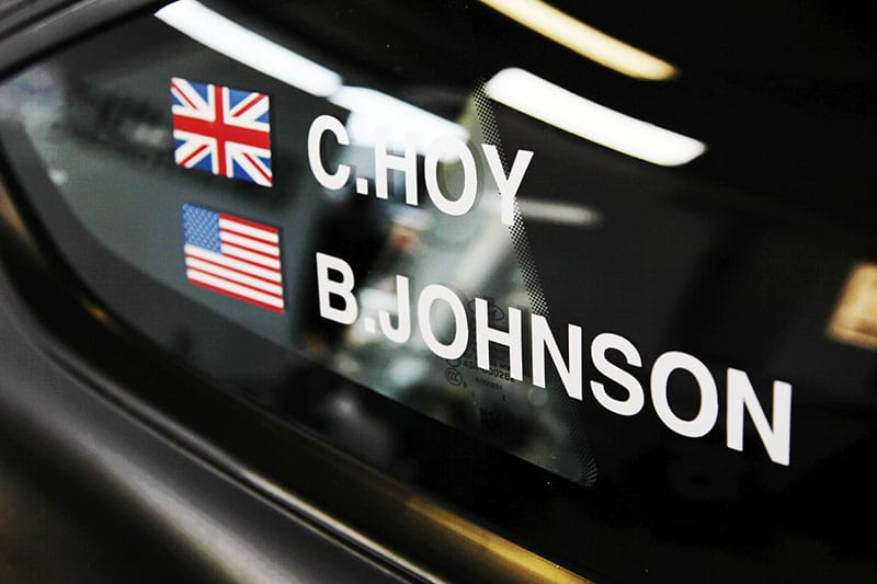 Sir Chris Hoy and Billy Johnson's names on the side of the #19 Multimatic Mustang.