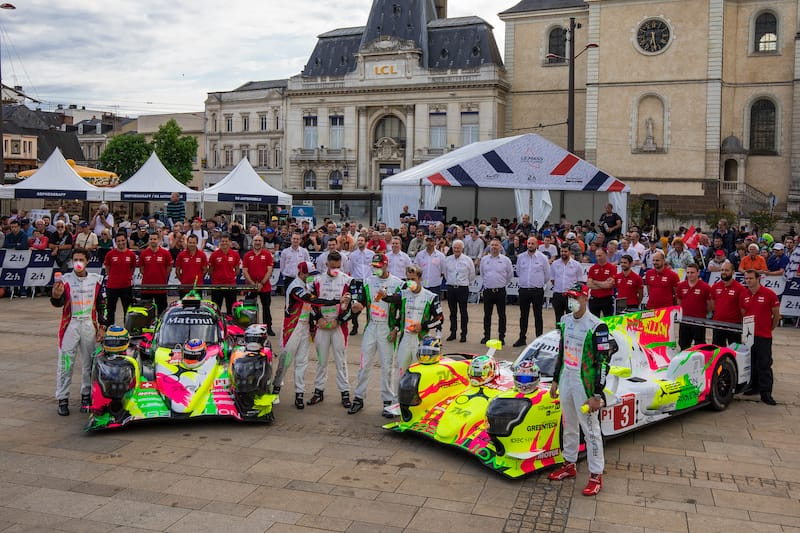 The LMP1 Rebellion Racing cars with their art liveries for the 24 Hours of Le Mans
