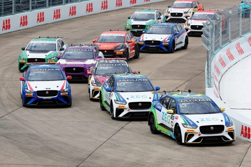 Jaguar I-Pace eTrophy Grid heading down to the first corner at Berlin Templehof Airport circuit