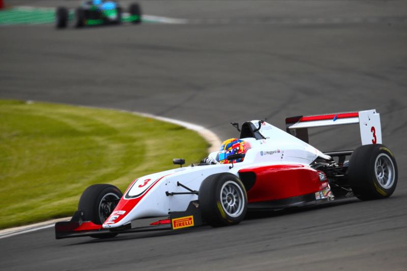Johnathan Hoggard leading at Donington Park Grand Prix circuit