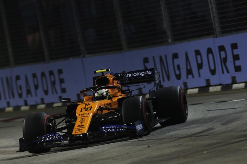 Lando Norris- McLaren F1 Team in the 2019 Formula 1 Singapore Grand Prix - Marina Bay Street Circuit - Free Practice