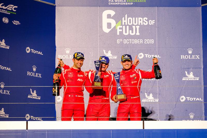 Jonny Adam, Salih Yoluç and Charlie Eastwood on the podium, Fuji Speeday, 2019