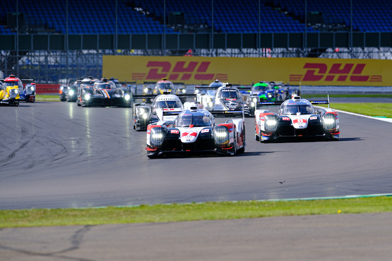 Race start with Toyotas leading at 4 Hours of Silverstone, 2019