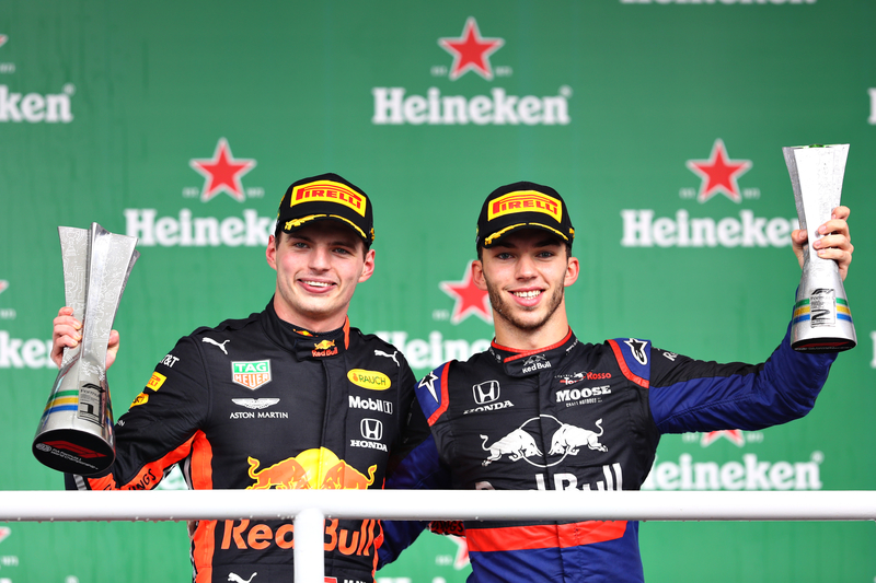 Max Verstappen - Aston Martin Red Bull Racing & Pierre Gasly - Red Bull Toro Rosso Honda in the 2019 Formula 1 Brazilian Grand Prix - Autódromo José Carlos Pace - Podium