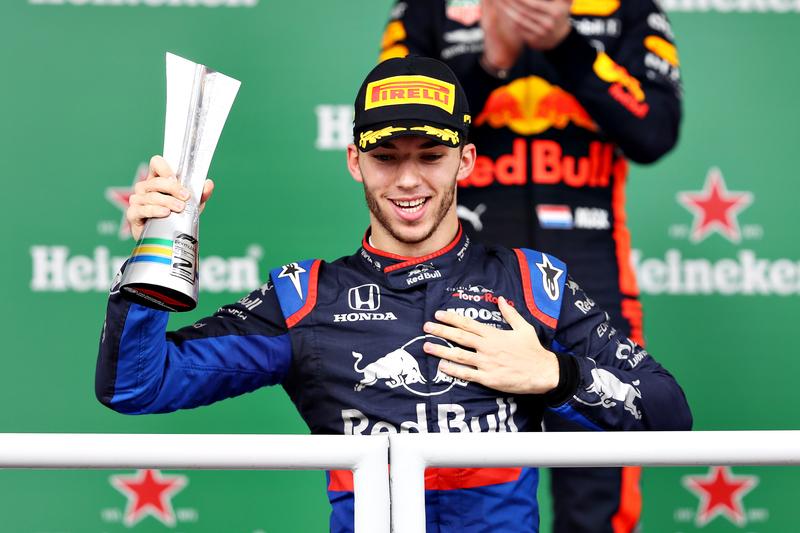 Pierre Gasly - Red Bull Toro Rosso Honda in the 2019 Formula 1 Brazilian Grand Prix - Autódromo José Carlos Pace - Podium