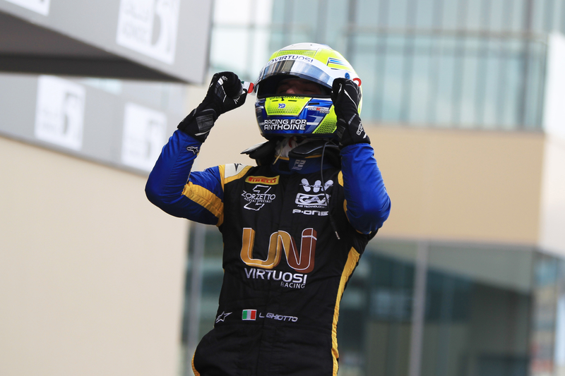 Luca Ghiotto - UNI-Virtuosi Racing in the 2019 FIA Formula 2 Championship - Yas Marina Circuit - Parc Fermé