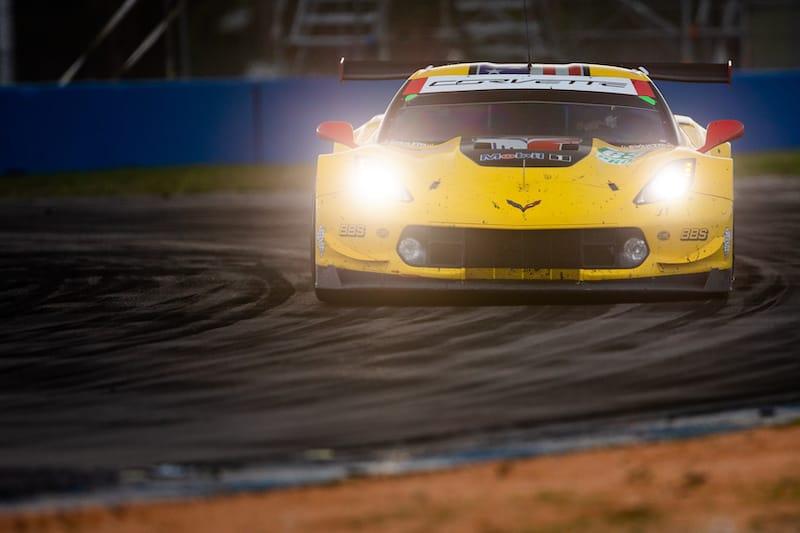 63 Corvette Racing on track at night in Sebring