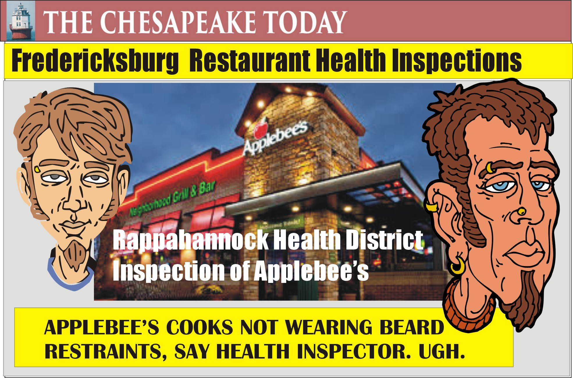 HEALTH INSPECTION: Applebee's found with bearded cooks without beard restraints; ugh.