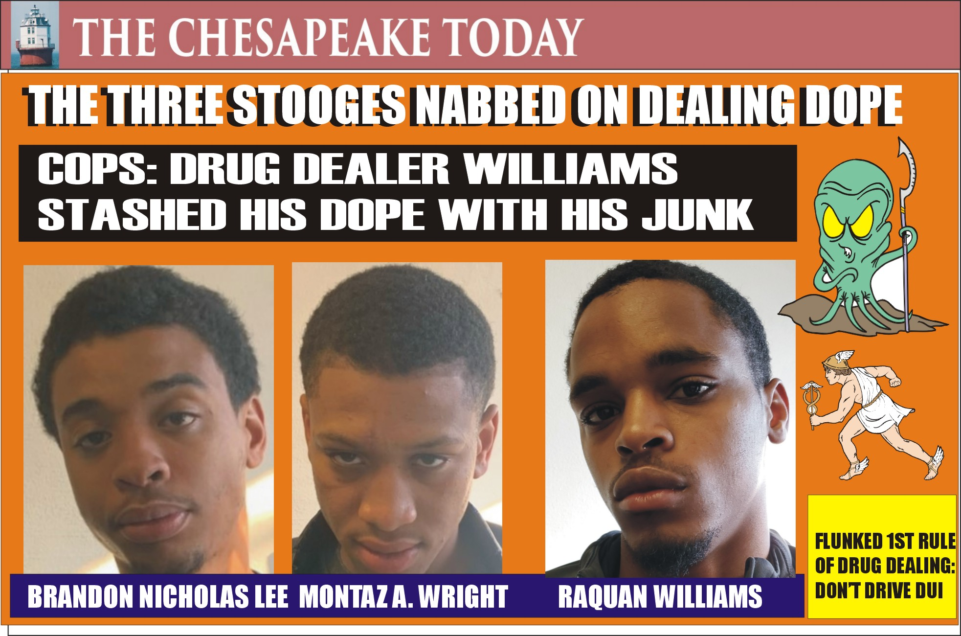 COCAINE & POT GO TOGETHER LIKE A HORSE AND CARRIAGE: Three Stooges from Baltimore caught with all the tools needed for dealing drugs