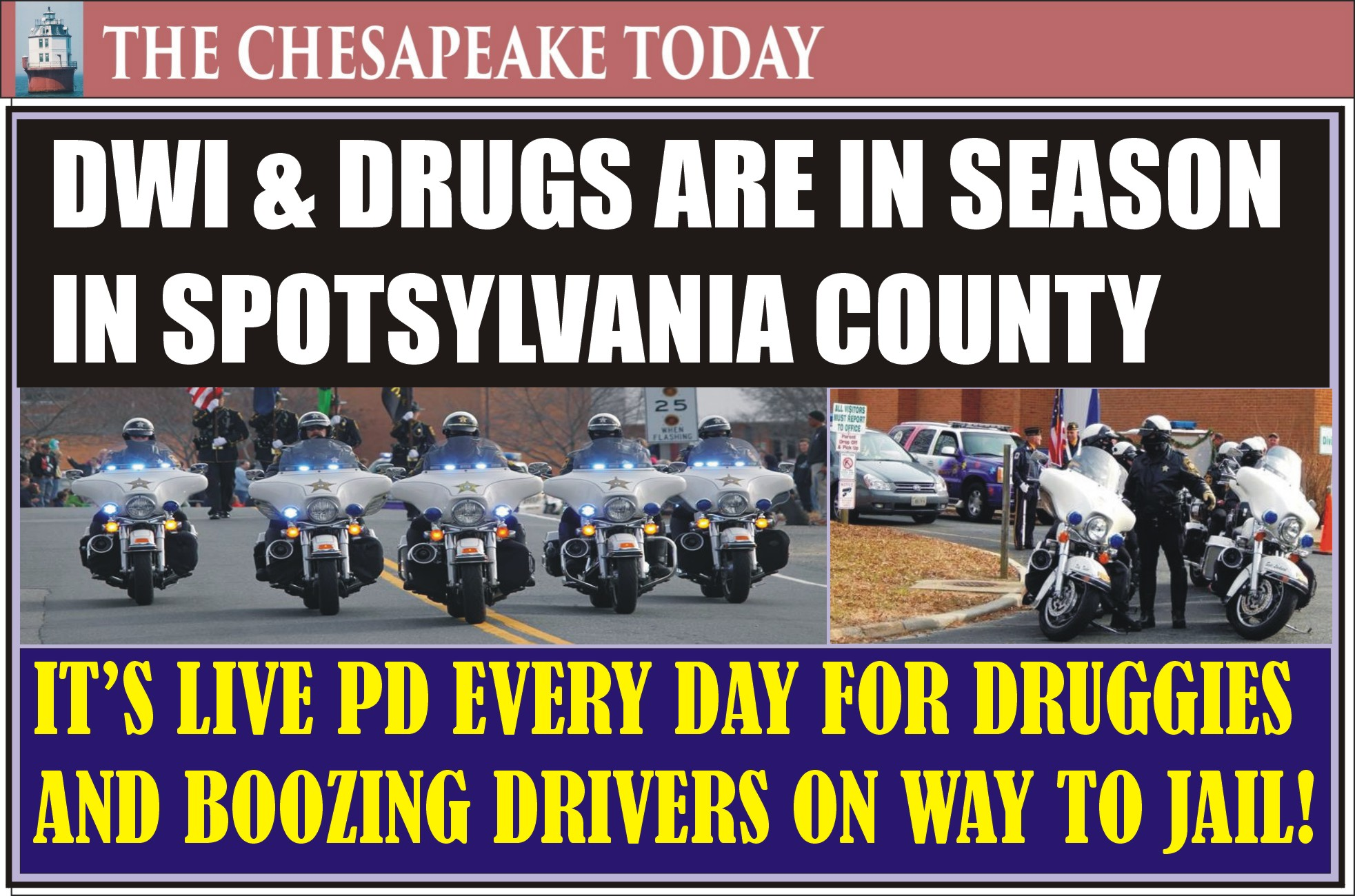 DWI HIT PARADE: Spotsylvania Sheriff Roger Harris reports DUI and narcotics arrests for Sept. & Oct. 2019