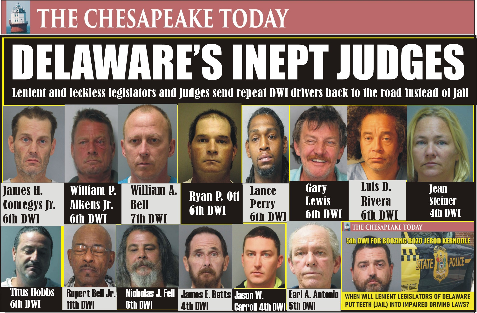 DELAWARE'S POLITICIANS ALLOW REPEAT DWI DRIVERS TO GO FREE…TO KILL YOU