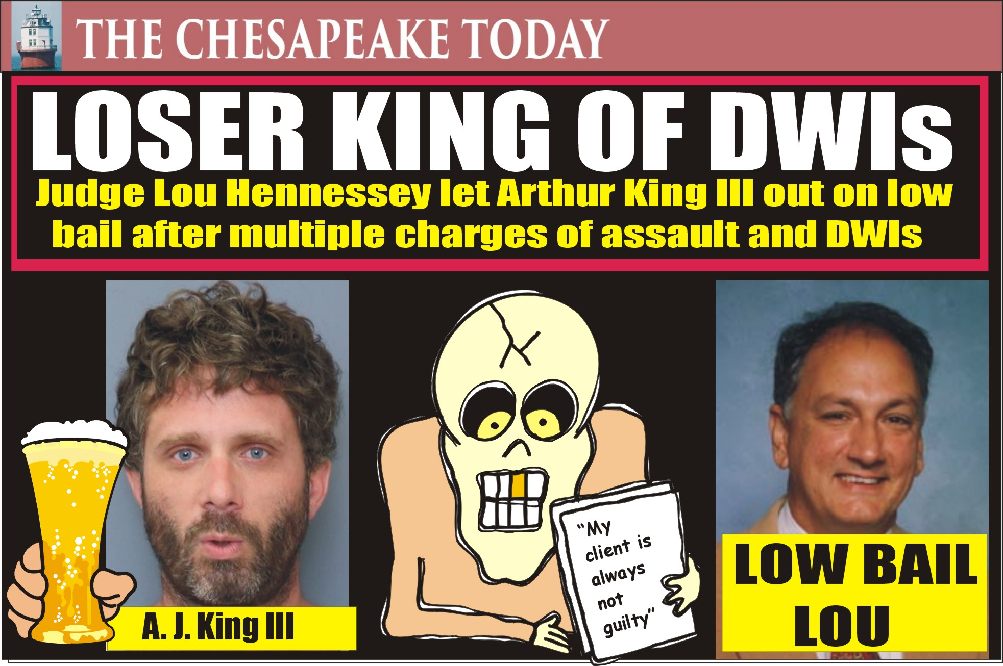 DWI HIT PARADE: Arthur John King III Charged With DUI, Hit and Run and Nasty Spitting on Officer: Judge Lou Hennessey Set Low Bail Allowing King to Look For Someone to Kill on Area Highways