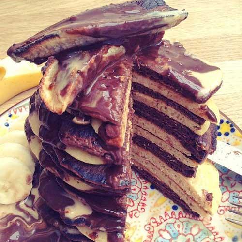 vegan peanut butter and chocolate pancakes 3