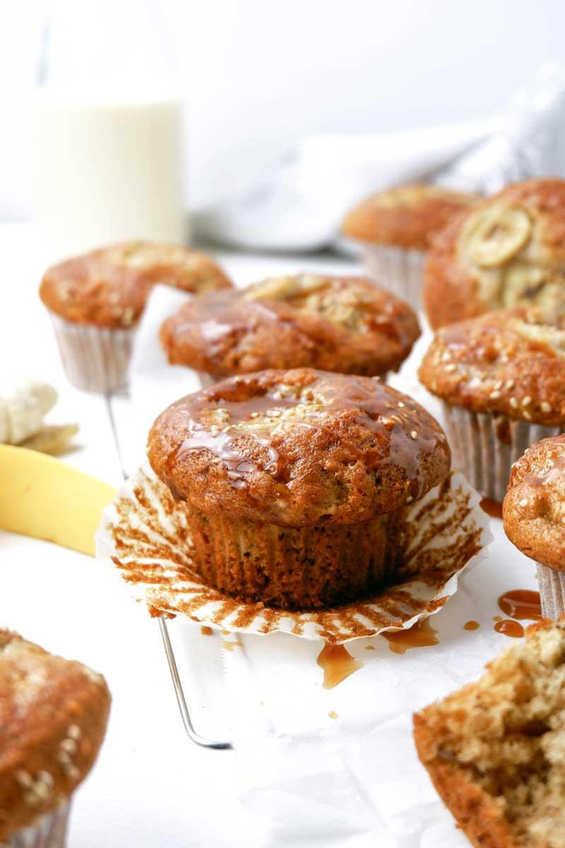 vegan tahini banana muffins