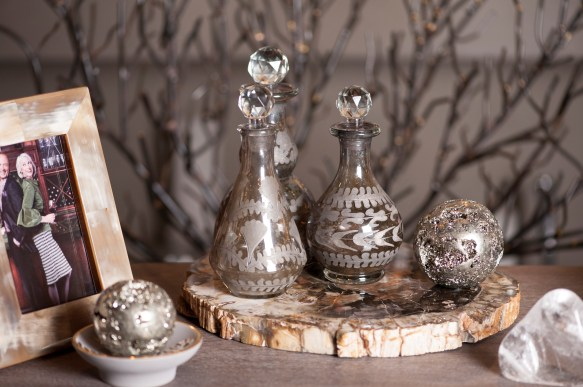 GoHome Etched Smoky Glass Decanters