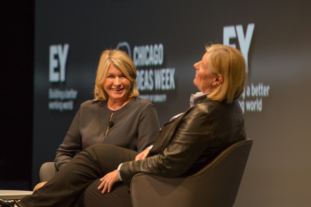 """CHICAGO, IL - OCTOBER 14: Laura Desmond, Global CEO of Stardom Mediavest Group, interviewed Martha Stewart, Founder of Martha Stewart Living Omnimedia, about redefining the lifestyle brand at the """"Top of Their Game: Entrepreneurs and Their Startup Stories"""" talk, presented by EY, at the Cadillac Palace Theatre in Chicago. (Photo by Tim Klein/Chicago Ideas week)"""