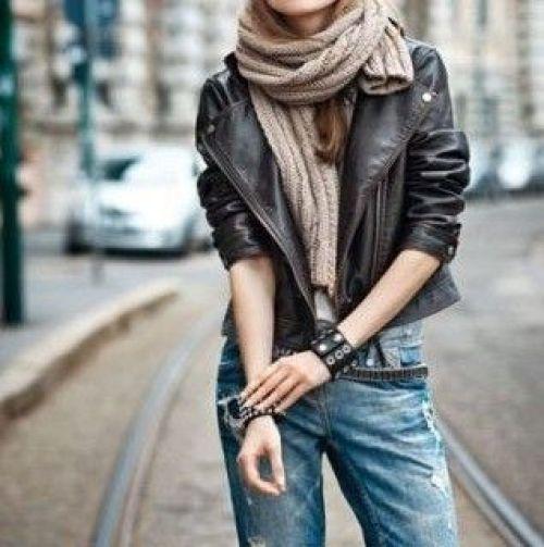 Giacca di pelle jeans chiari the chic jam
